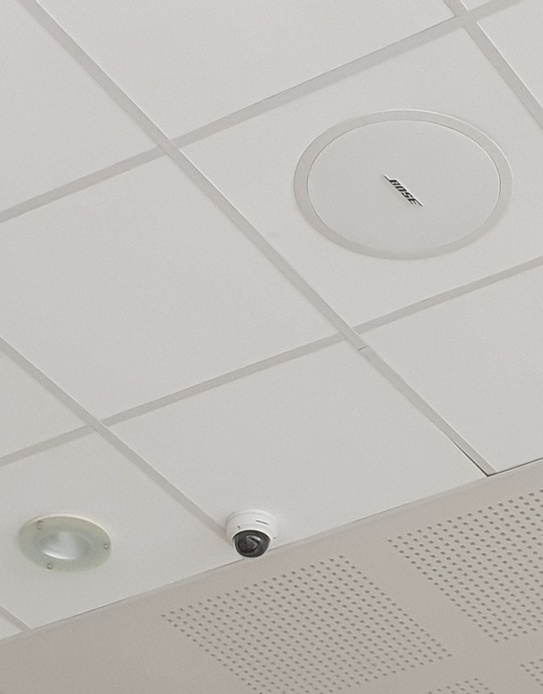 Bose ceiling speakers as part integrated EES Showhire PA installation