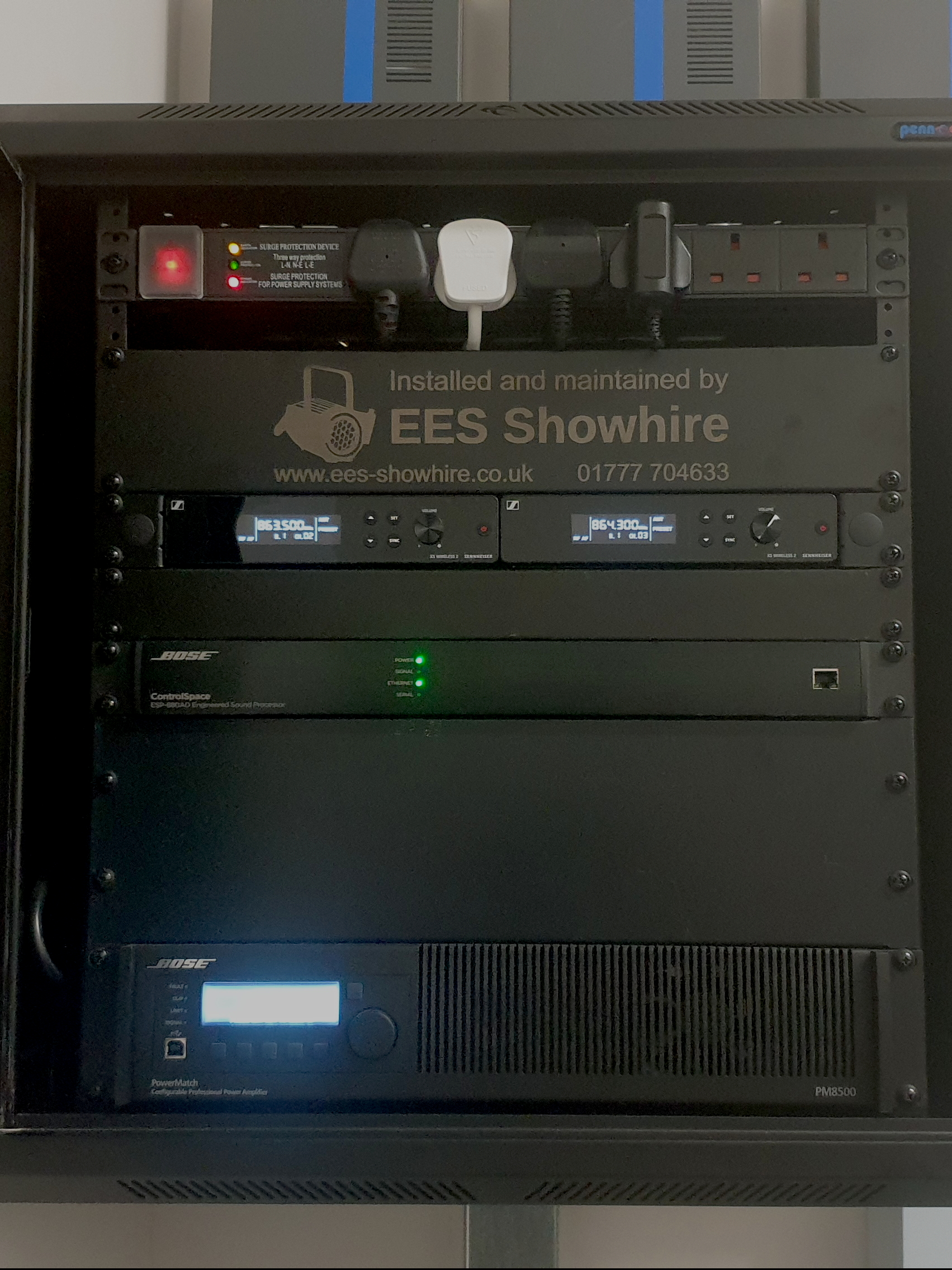 EES Showhire combine audio equipment into one simple PA installation