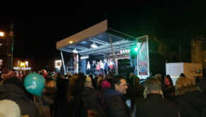 One of many christmas market stage shows which EES Showhire produce across the region. Stage, lighting and sound hire.