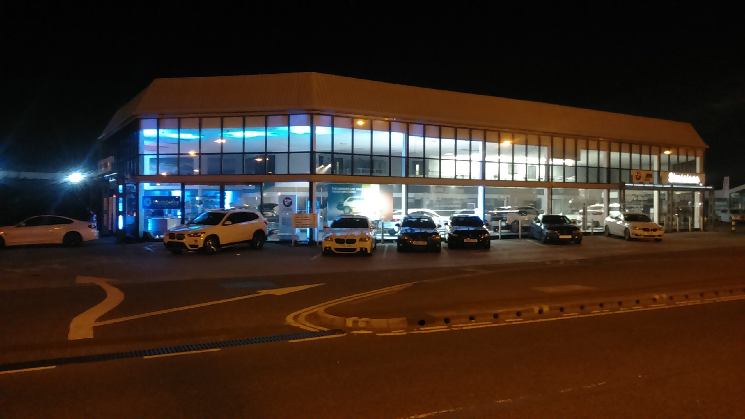 EES Showhire lit the Doncaster based car dealership showroom in BMW colours.