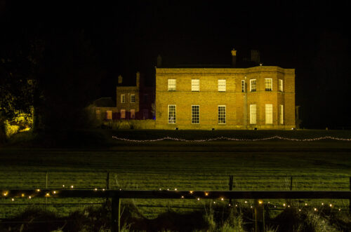 South Ormsby Hall in Lincolnshire lit up by EES Showhire for an event