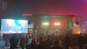 Worksop christmas lights switch on event - EES Showhire stage production and hire with large format video screen
