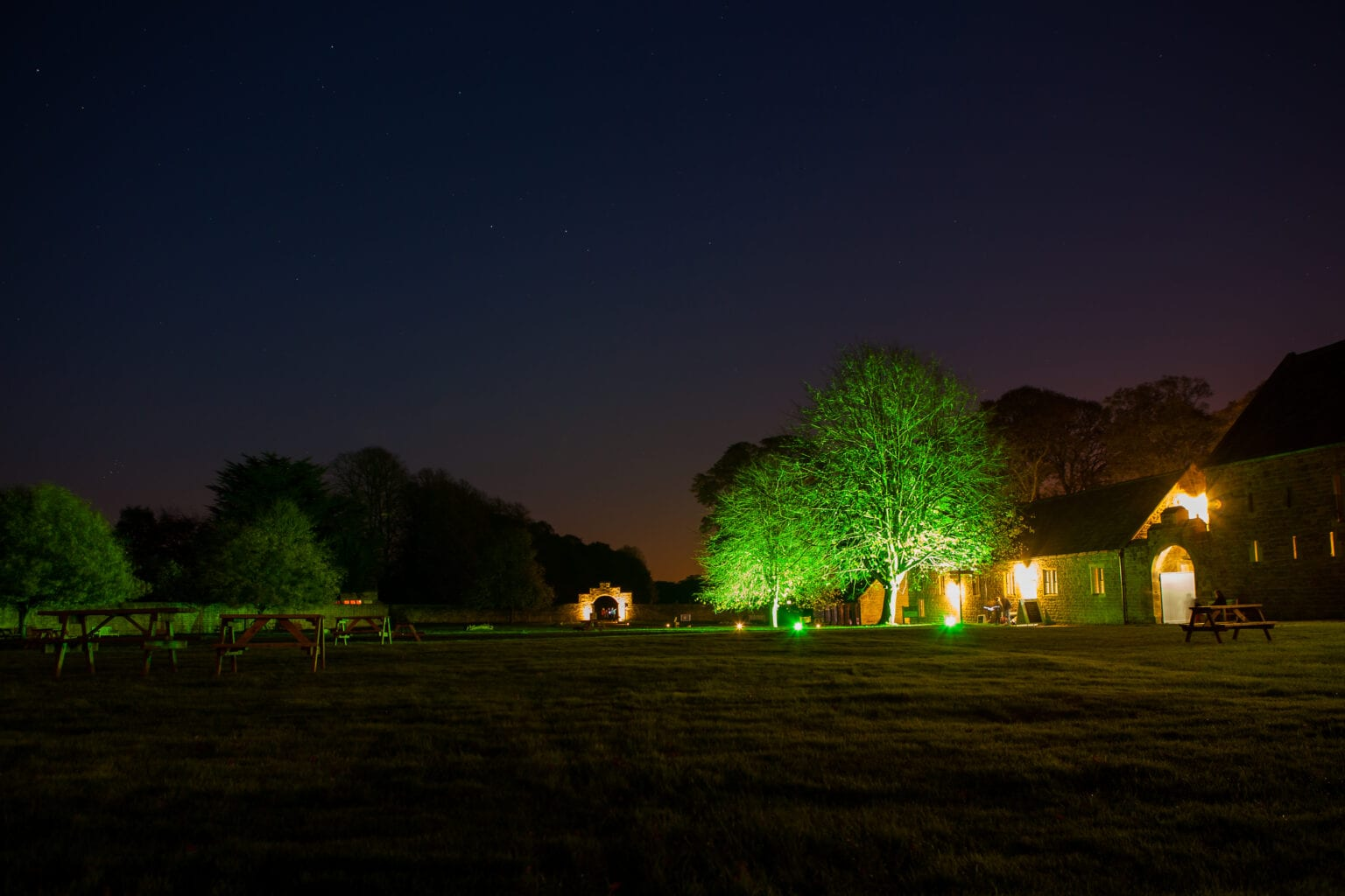 Lighting effects and pa speaker sound system effects for Hardwick Hall Chesterfield